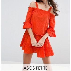 ASOS Petite Tiered Orange Cold-Shoulder Sundress